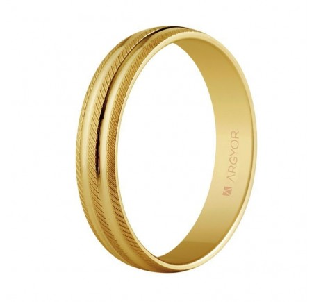 Aliança de casament d'or estries-brillant 4mm (5140037)