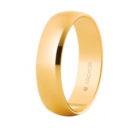 Aliança de boda d'or clàssica mitja canya 5mm brillant (50505)