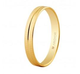 Alianza de oro biselada textura-brillo 3mm (5130474)
