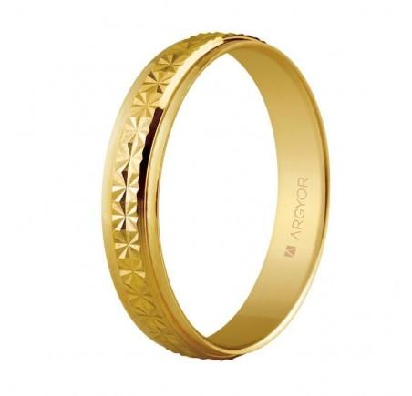 Aliança de casament or facetat diamantat 4mm (5140108)