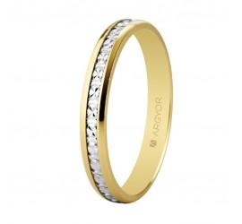 Alianza de boda bicolor diamantada 3mm (5230463)
