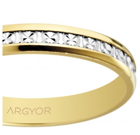 Aliança de casament bicolor diamantada 3 mm (5230463)