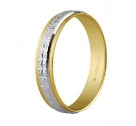 Alianza de boda dos oros facetada de 4mm (5240108)
