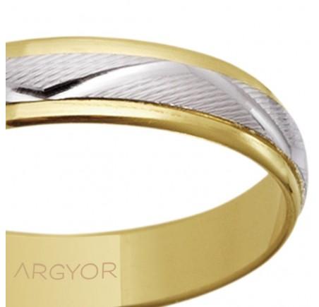 Alianza de boda bicolor zig-zag 4mm (5240138)