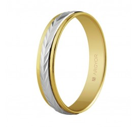 Alianza de boda dos oros 4mm diseño en espiga (5240283)