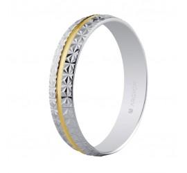 Alianza de boda facetada bicolor 4mm (5240296)