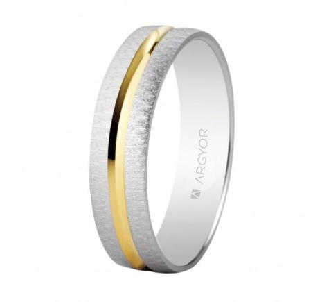 Alianza de boda bicolor texturizada-brillo 4mm (5240474)