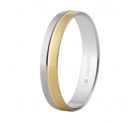 Alianza de boda bicolor satinada brillo 3,7mm (5240480)