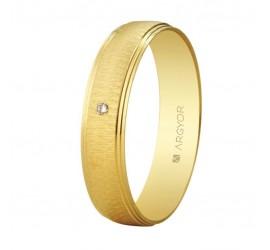 Alianza con diamante oro texturizada 4,5mm (55501466)