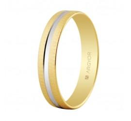 Alianza de boda bicolor textura y brillo 4mm (5241474R)