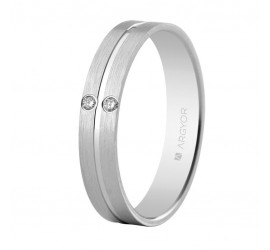 Anell d'or blanc i diamants setinat-brillant 4mm (554B2494)